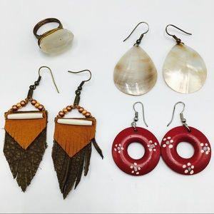 Earring crystal ring bundle shell leather